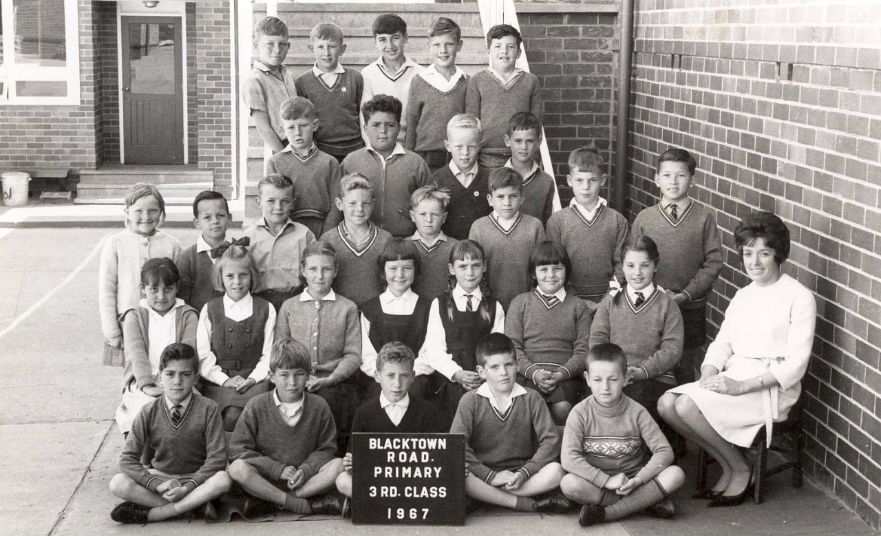Class photo of the third class of 1967, when the school was Blacktown Road School.